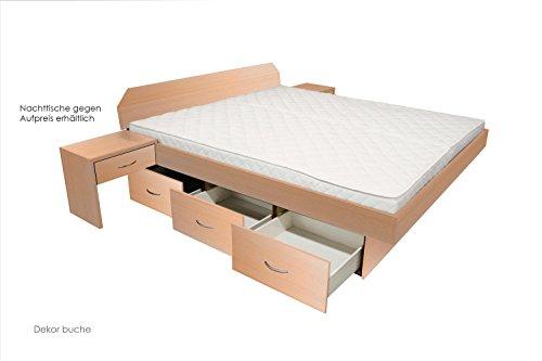 SONDERAKTION bellvita Wasserbett mit Schubladensockel in Komforthöhe, Bettumrandung mit Aufbau, buche, 140 cm x 200 cm