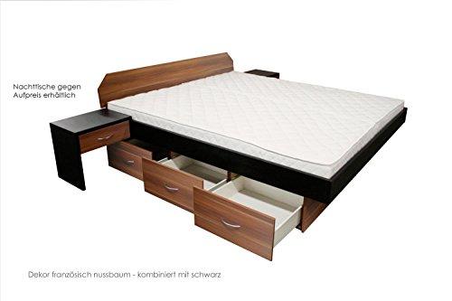 SONDERAKTION bellvita Wasserbett mit Schubladensockel in Komforthöhe, Bettumrandung mit Aufbau, französisch nussbaum, 180 cm x 220 cm