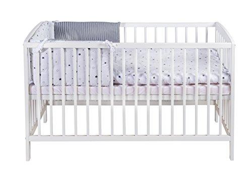 Schardt 03 012 19 02 1/679 Kinderbett Felix inklusive Matratze und 2-teilger textiler Ausstattung Sternchen, grau/weiß lackiert