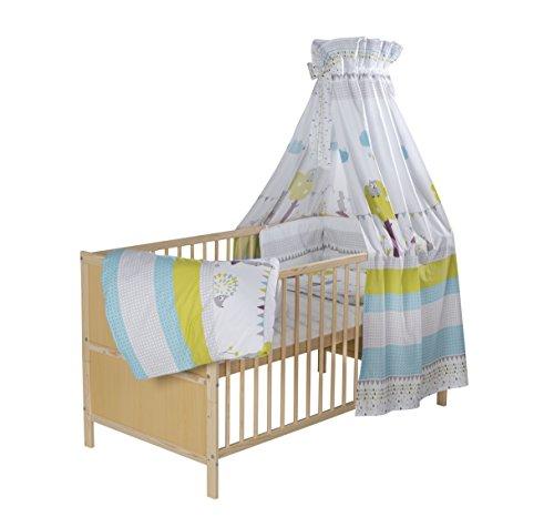 Schardt 04 066 19 01 1/743 Komplettkinderbett Lenny inklusiver textiler Ausstattung Eule und Igel, 70 x 140 cm, natur lackiert