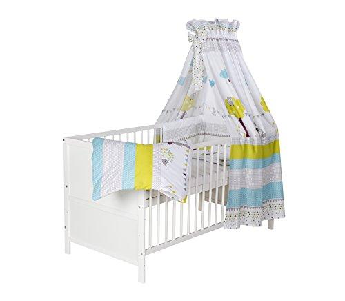 Schardt 04 066 19 02 1/743 Komplettkinderbett Lenny inklusiver textiler Ausstattung Eule und Igel, 70 x 140 cm, weiß lackiert