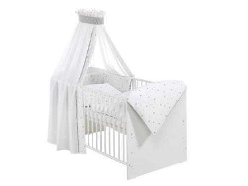 Schardt 0449802021679 Komplettbett Classic-Line weiß, 70 x 140 cm, inklusive 4 - teiliger, textiler Ausstattung Sternchen, grau