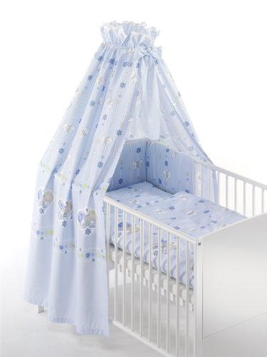 Schardt 13 402 1/633 - Bettset 4-teilig Bienchen hellblau ( 2-teilige Bettwäsche, Himmel und Nestchen)