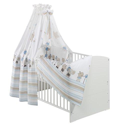 Schardt Komplettbett Classic-Line weiß 70x140 cm inkl. Bettset Banjo blau