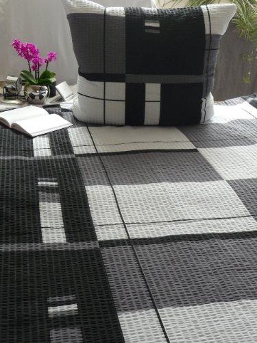 seersucker bettw sche set diamante 155x220 cm grau schwarz kariert bettdecke und kopfkissen. Black Bedroom Furniture Sets. Home Design Ideas