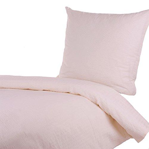 seersucker bettw sche 135x200 80x80 cm uni creme beige baumwolle rei verschluss b gelfrei. Black Bedroom Furniture Sets. Home Design Ideas