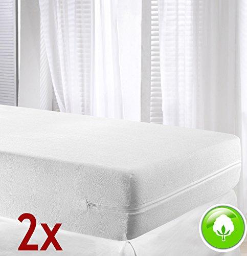 VELFONT – Set mit 2 (Pack) Frottee-Matratzenbezug aus 100% elastischer Baumwolle - Weisse - verfügbar in verschiedenen Größen - 90x190/200cm
