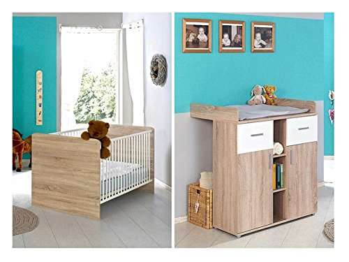 sparset babyzimmer kinderzimmer komplett set elisa in eiche sonoma wei umbaubar zum. Black Bedroom Furniture Sets. Home Design Ideas