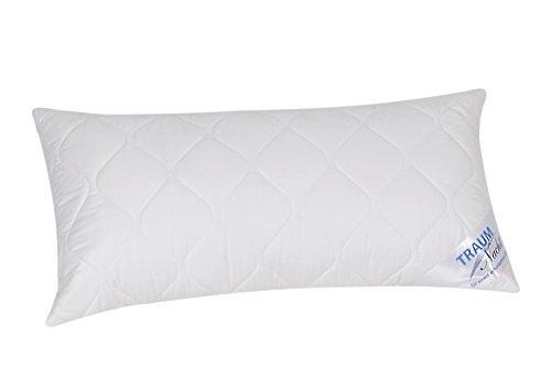 Traumnacht 5-Star Kopfkissen, weiches und bequemes Kopfkissen aus reinem Baumwolle-Satin, 40 x 80 cm, waschbar, weiß