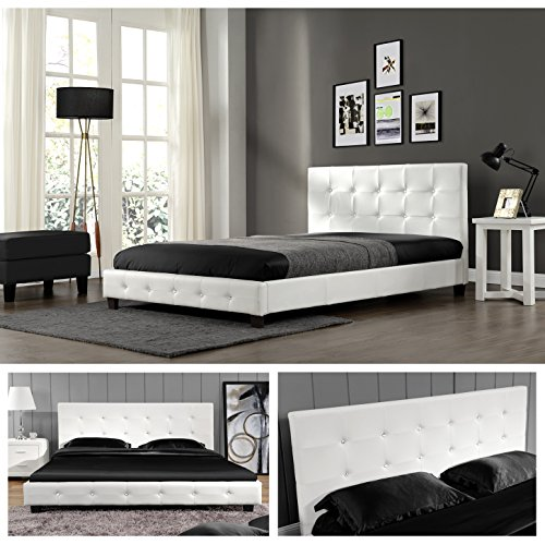 weiss 140cm x 200cm kalifornia doppelbett polsterbett. Black Bedroom Furniture Sets. Home Design Ideas