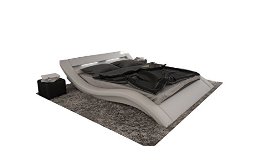 xxs m bel doppelbett look wei 200 x 220 cm inkl led beleuchtung geschwungenes design lager. Black Bedroom Furniture Sets. Home Design Ideas