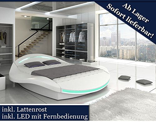 xxxl designer bett designerbett led beleuchtung wei 200x200 tonnentaschenfederkern matratze. Black Bedroom Furniture Sets. Home Design Ideas