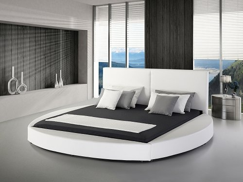 designer rundbett echtleder bett rundes lederbett luna schwarz oder weiss polsterbett leder. Black Bedroom Furniture Sets. Home Design Ideas