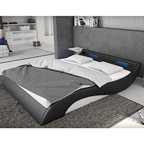 polster bett 140x200 cm schwarz wei aus kunstleder mit blauer led beleuchtung mavani das. Black Bedroom Furniture Sets. Home Design Ideas
