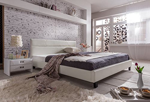 sam design polsterbett pellisima 140 x 200 cm in wei mit samolux bezug kopfteil im. Black Bedroom Furniture Sets. Home Design Ideas