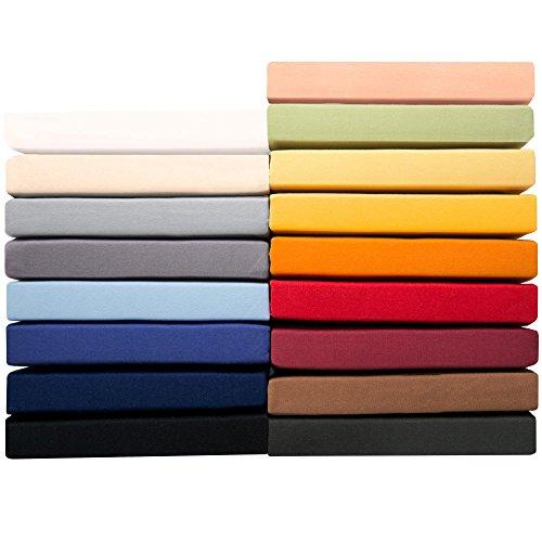 Jersey Spannbettlaken 140 x 200 - 160 x 220 cm für Boxspringbetten u. Wasserbetten, 160g/m² Mako-Baumwoll Qualität, klassisches Spannbetttuch für hohe Matratzen, silber-grau, aqua-textil 0010182 Serie PUR