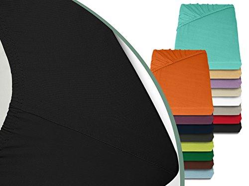 Jersey Spannbetttuch in bewährter Qualität - erhältlich in 16 modernen Farben und 5 verschiedenen Größen, 70 x 140 cm, schwarz