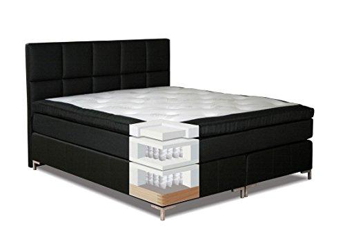 Komplettset Boxspringbett MOALA, Box: Taschenfederkern, Matratze: 7 Zonen - Taschenfederkern, Top Matress: Memoryschaum - Abmessung: 140 x 200 cm