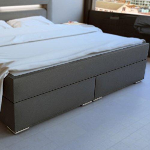 sam design boxspringbett mit samolux bezug in grau led. Black Bedroom Furniture Sets. Home Design Ideas