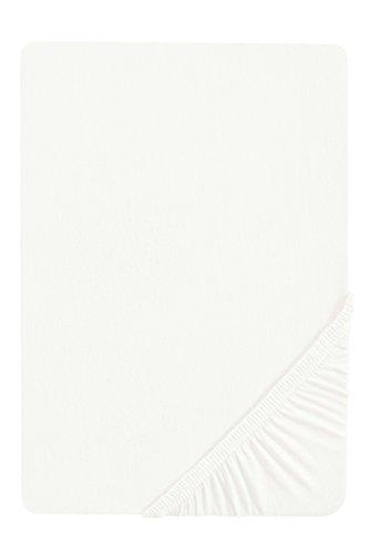 biberna 77155 Jersey-Stretch Spannbetttuch, nach Öko-Tex Standard 100, ca. 180 x 200 cm bis 200 x 200 cm, weiß