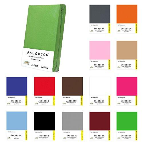 Jacobson Jersey Spannbettlaken Spannbetttuch Baumwolle Bettlaken (90x200 - 100x200 cm, Hellblau)