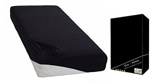 2er Pack Spannbettlaken Schwarz 90 - 100 cm x 200 cm Spannbett Tuch 100% Baumwolle (Jersey) Rundumgummizug