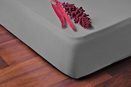 DecoKing 04517 Spannbettlaken 80 x 200 - 90 x 200 cm Jersey Baumwolle Spannbetttuch, grau