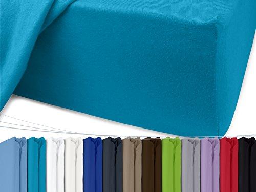 Jersey Spannbetttuch in unseren besten Farben aus 100% Baumwolle – in 5 Größen erhältlich, 90-100 x 200 cm, türkis