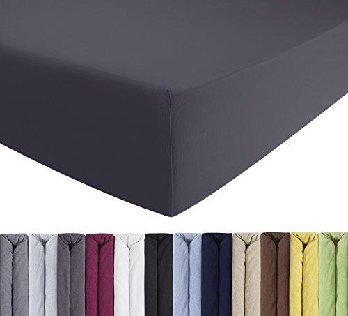 ENTSPANNO Jersey-Luxus-Spannbettlaken für Wasser- und Boxspringbett in Grau (Anthrazit) aus gekämmter Baumwolle. Spannbetttuch mit Einlaufschutz, 180 x 200 | 200 x 200 | 200 x 220 cm, bis 40 cm hohe Matratzen