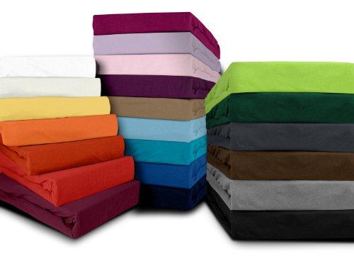 klassisches Jersey Spannbetttuch - erhältlich in 22 modernen Farben und 6 verschiedenen Größen - 100% Baumwolle, 90-100 x 200 cm, schwarz