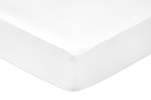 AmazonBasics Spannbetttuch, Baumwoll, Satin Fadenzahl 400, knitterarm, 180 x 200 x 30 cm - Weiß
