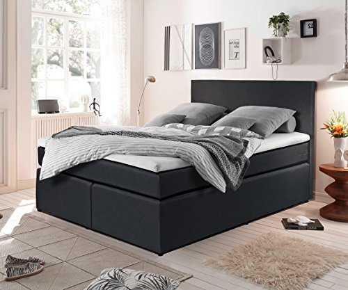 bett elexa schwarz 140 x 200 cm matratze und topper federkern boxspringbett. Black Bedroom Furniture Sets. Home Design Ideas