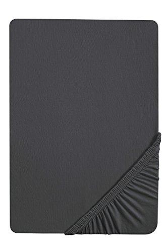 biberna 77866 Jersey-Elastic Spannbetttuch, nach Öko-Tex Standard 100, ca. 140 x 200 cm bis 160 x 220 cm, titanium