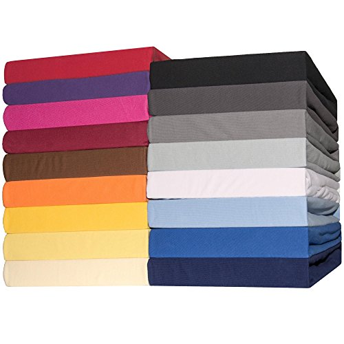 Spannbettlaken Jersey Baumwolle | viele Farben alle Größen | Spannbetttuch für Standardmatratzen | 140 x 200 bis 160 x 200 CelinaTex 0002803 Lucina schwarz
