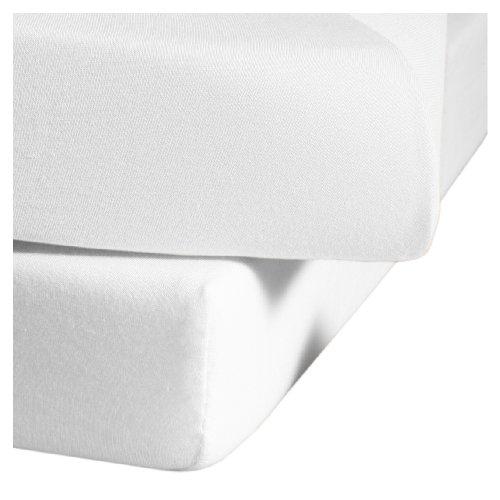 Jerseyspannlaken / 90x220 - 100x220 cm weiß