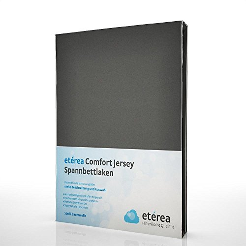 etérea Comfort Jersey Spannbettlaken - in viele Farben und alle Größen - 100% Baumwolle, Anthrazit 180x200 - 200x200 cm