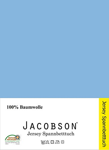 jacobson jersey spannbettlaken spannbetttuch baumwolle bettlaken 90x200 100x200 cm hellblau. Black Bedroom Furniture Sets. Home Design Ideas