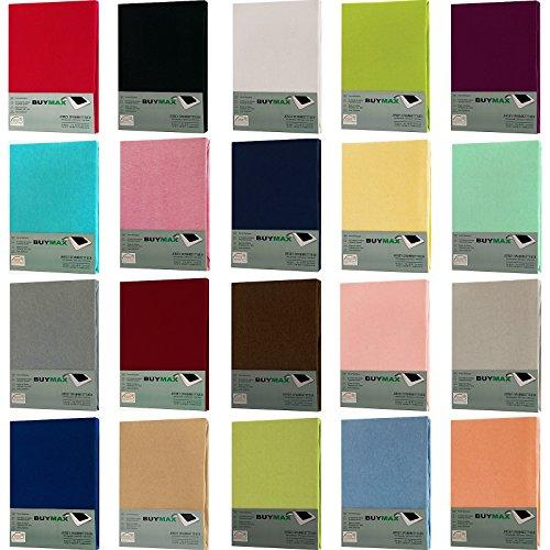 Jersey Spannbettlaken Spannbetttuch 100% Baumwolle Bettlaken in 5 Größen und vielen Farben Öko-Tex (60x120 - 70x140 cm, Vanilla-Gelb)