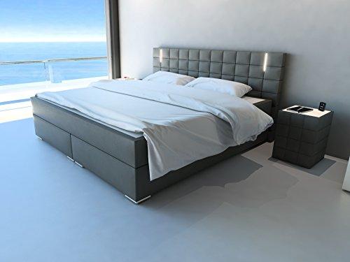 SAM® Design Boxspringbett mit Samolux®-Bezug in grau, LED-Beleuchtung, Bonellfederkern-Matratze, Box mit Holzrahmen und Nosag-Unterfederung, hochwertigen chromfarbenen-Füßen, optimale Einstiegshöhe, 180 x 200 cm [521468]