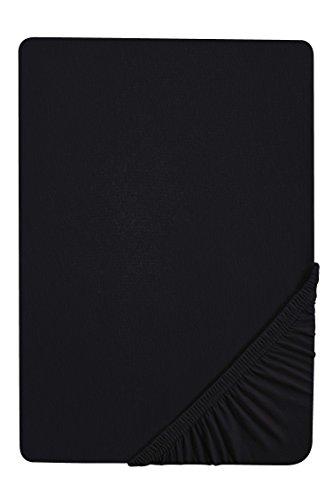 biberna 77155 Jersey-Stretch Spannbetttuch, nach Öko-Tex Standard 100, ca. 90 x 190 cm bis 100 x 200 cm schwarz