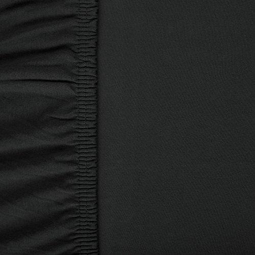 aqua-textil Viana Spannbettlaken, Baumwolle, schwarz, 200 x 90 cm