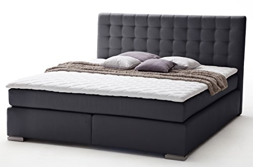 sette notti boxspringbett 160x200 cm schwarz kunstleder boxspringbett h2 mit bonnell federkern. Black Bedroom Furniture Sets. Home Design Ideas
