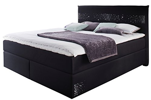 sette notti boxspringbett 180 schwarz mit swarovski strass und metallaplikationen bett mit. Black Bedroom Furniture Sets. Home Design Ideas