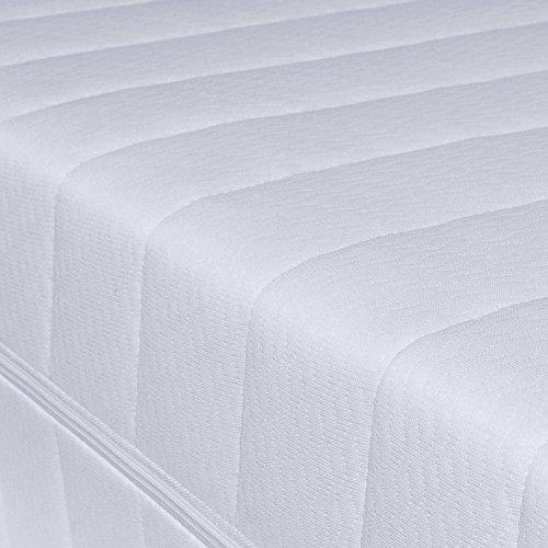 7-Zonen Härtegrad H2 H3 (Weiß) Matratze, Orthopädische Kaltschaummatratze, Rollmatratze, Öko-Tex, Bezug waschbar, 4-Seiten-Reißverschluss
