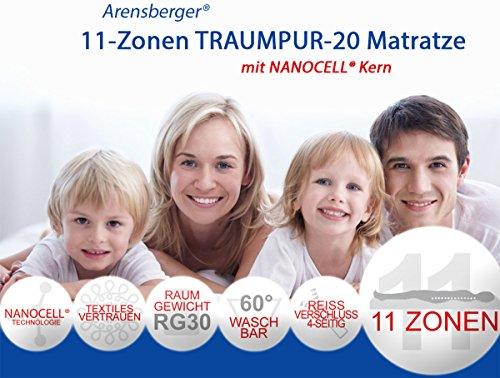 Arensberger 2570 11-Zonen Traumpur-20 Matratze RG30 mit Nanocell Kern, 80 x 200 x 20 cm, 80 kg