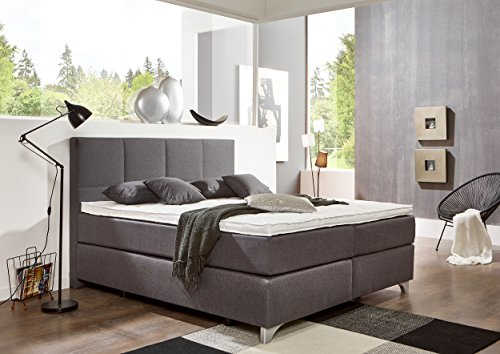 breckle boxspringbett arga preime grau boxspringbett mit 1000er taschenfederkern in box und. Black Bedroom Furniture Sets. Home Design Ideas