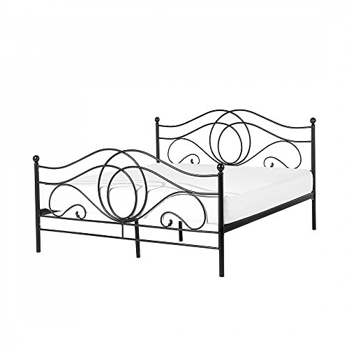 bett schwarz doppelbett 160x200 cm ehebett metallbett mit lattenrost lyra. Black Bedroom Furniture Sets. Home Design Ideas