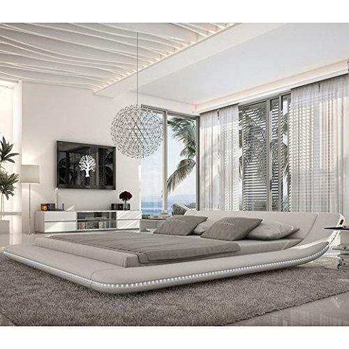 custo designerbett 160x200 cm doppelbett futonbett bett polsterbett kunstleder wei. Black Bedroom Furniture Sets. Home Design Ideas