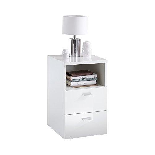 fmd m bel colima 1 up nachtkonsole holz hochglanz wei 35 x 40 x 61 5 cm matratzen online. Black Bedroom Furniture Sets. Home Design Ideas