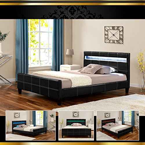 luna led luxus schwarz 160x200cm polsterbett doppelbett bettgestell bettrahmen mit lattenr. Black Bedroom Furniture Sets. Home Design Ideas